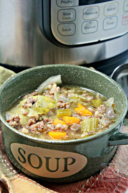This quick, easy and tastySausage and Cabbage Soup is made in the Instant Pot (pressure cooker) for a dish that's on the table in 30 minutes!