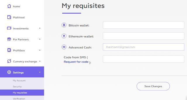 Update thông tin thanh toán trong alpha cash