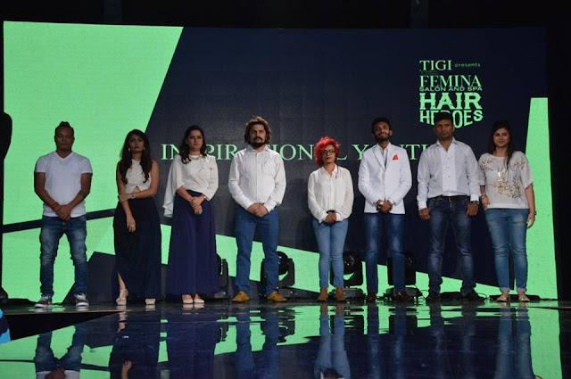 Winners of Femina Salon & Spa Hair Heroes (L-R) Amit Tamang, Noopur Chokshi, Shweta Goyal, Ashwani Kumar, Pravina Jadhav, Jawed Parvez, Madan Lal & Aksa Dumba