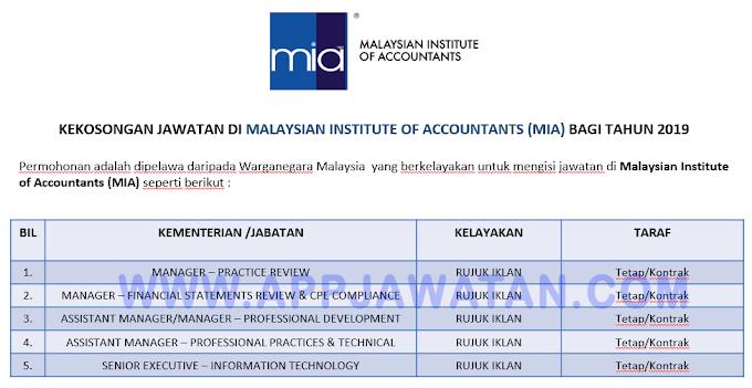 Jawatan Kosong Terkini di Malaysian Institute of Accountants (MIA).