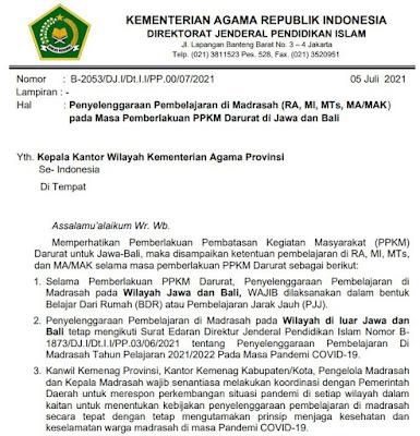 Surat Resmi KEMENAG Tentang Penyelenggaraan Pembelajaran di RA/Madrasah pada Masa Pemberlakuan PPKM Darurat Jawa dan Bali
