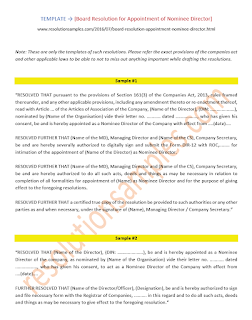 draft board resolution for appointment of nominee director as per companies act 2013