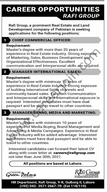 Rafi Group Jobs June 2021