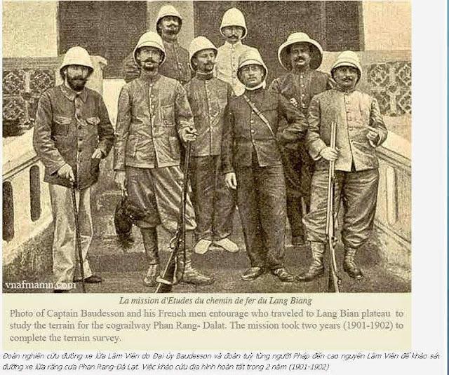 Đại úy Baudesson và đoàn tùy tùng lên cao nguyên Lâm Viên khảo sát địa hình cho tuyến đường sắt Phan Rang - Dalat những năm 1901-1902.