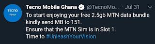 Enjoy Free 2.5GB on MTN Ghana Sim card