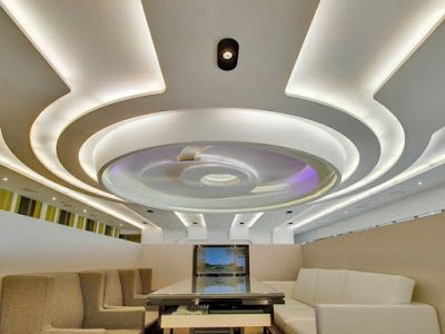 modern office false ceiling design with LED indirect lighting
