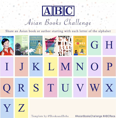 A chart with spaces for each letter of the alphabet. The first six boxes have the covers of books inside them instead of letters. The books are listed below.