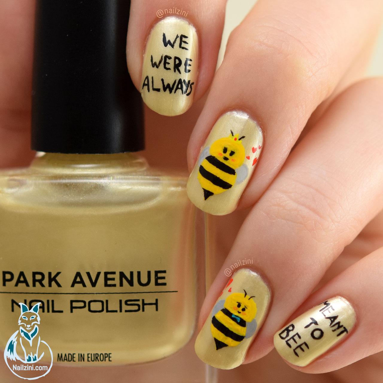 Valentine Bee Pun Nail Art Nailzini
