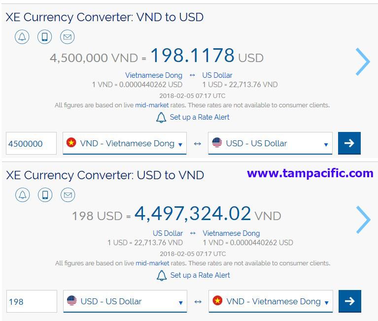 Đổi khoảng 4500000 vnd to usd để đăng ký tour Thái Lan là bao nhiêu ?