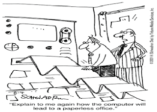 Cartoon picture showing how paperless office will be done