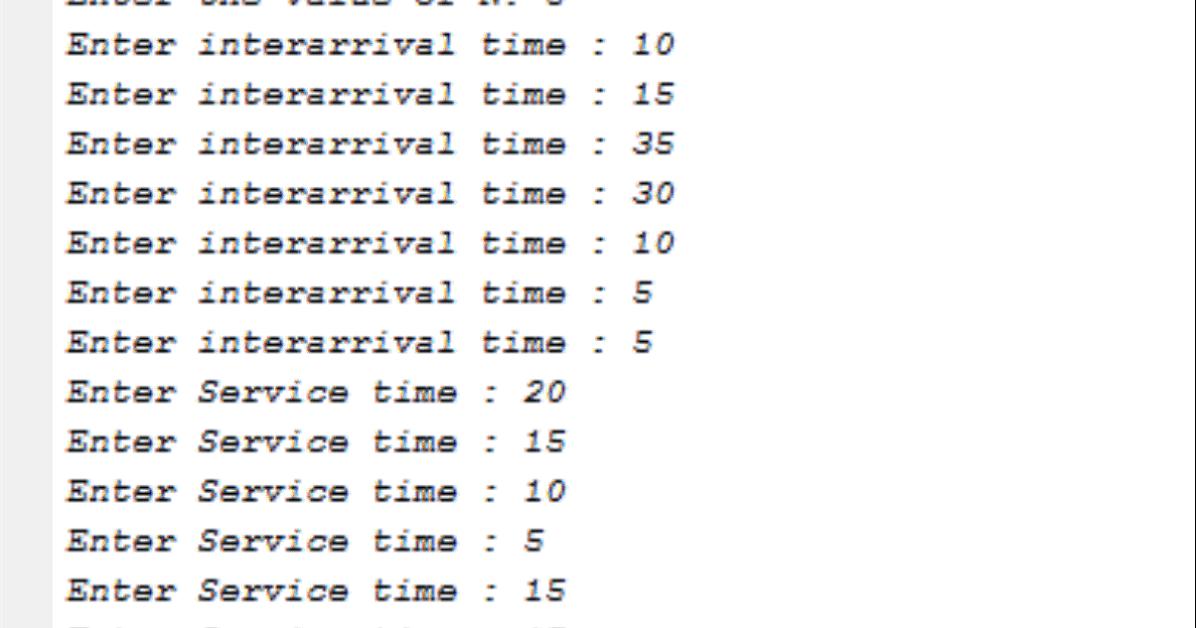 Single Server Queuing Model (usiing MATLAB)   Coding In C