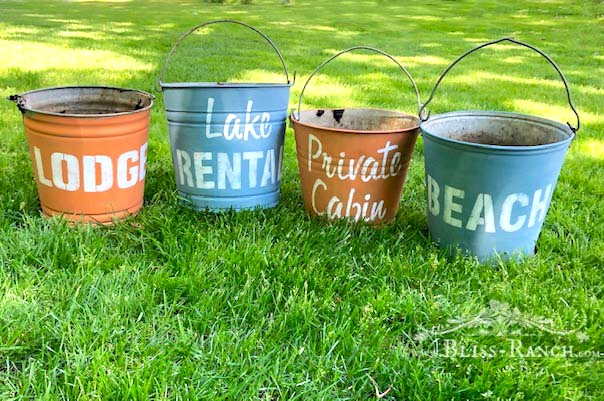Old Sign Stencils on Vintage Buckets, Bliss-Ranch.com