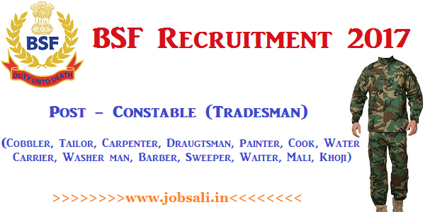 BSF Tradesman 2017, BSF Vacancies, BSF jobs for 10th pass