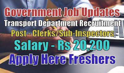 Transport Department Recruitment 2020
