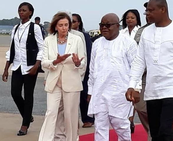 US house of congress Speaker, Nancy Pelosi arrives Ghana to mark the 400th anniversary of the first enslaved Africans landing in America