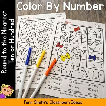 3rd Grade Go Math 1.2 Round to the Nearest Ten or Hundred Color By Number Dollar Deal #FernSmithsClassroomIdeas