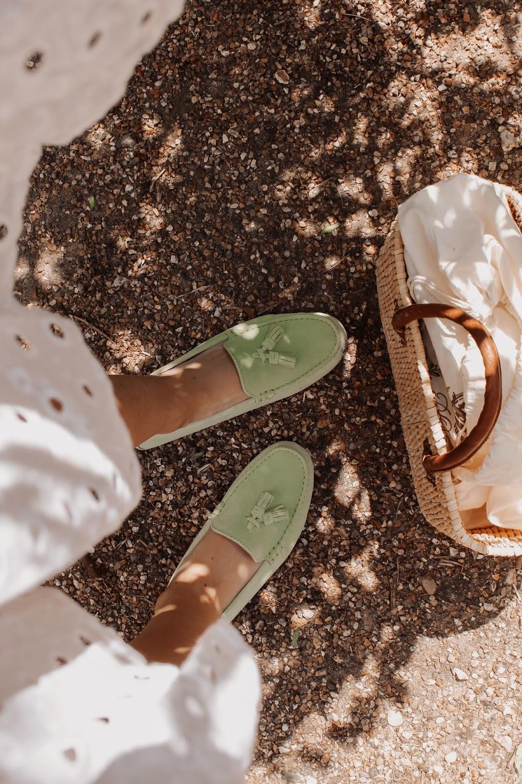 Hugs & Co Driving Green Tassel Loafers