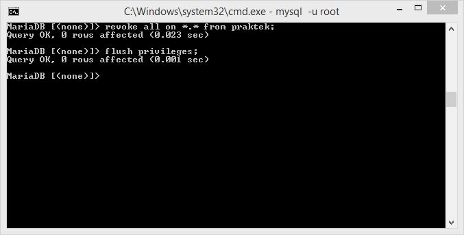 cara menghapus hak akses user database mysql