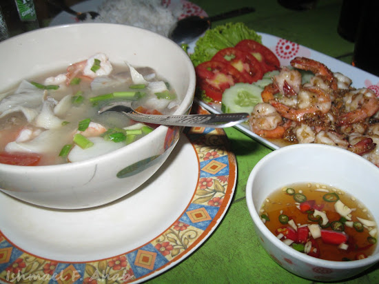 Soup and Shrimp dish at Koh Samet Island
