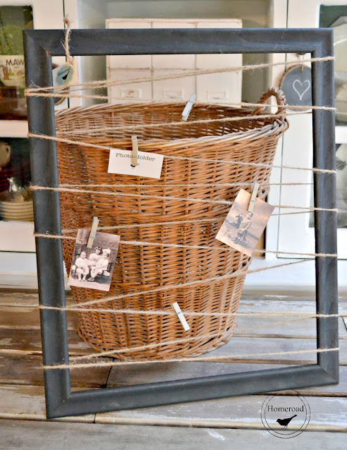 framed photo display and a basket