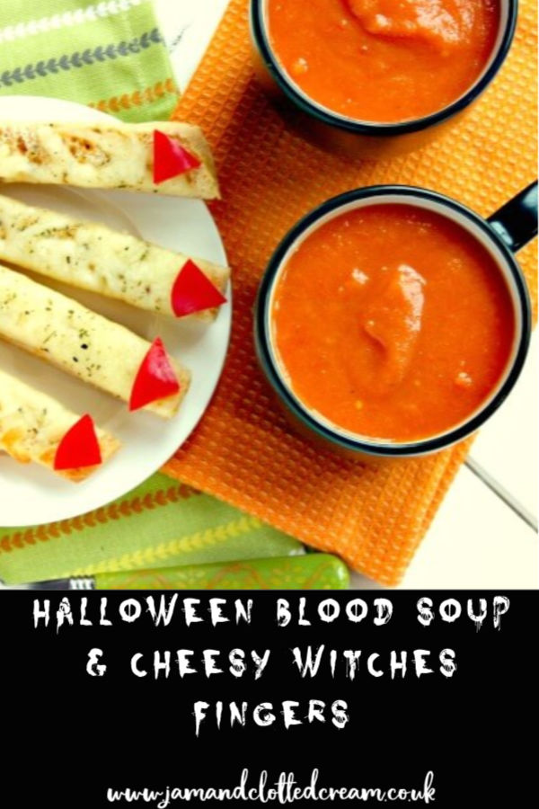 Halloween Blood Soup with Cheesy Witches Fingers