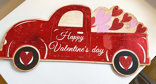 red truck sign for valentine's day