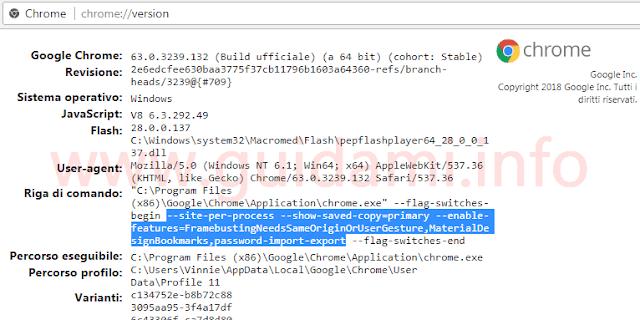Chrome pagina informazioni sulla versione
