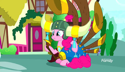 Pinkie Pie wearing a helmet and holding the yovidaphone