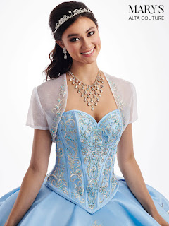 New Ball Gown Ice Blue/white Color dress Front Design