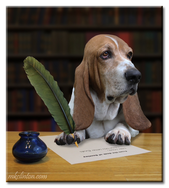 Basset Hound in library writing a letter using a pen and quill.