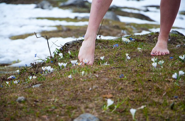 woman barefoot on the ground with flowers and snow