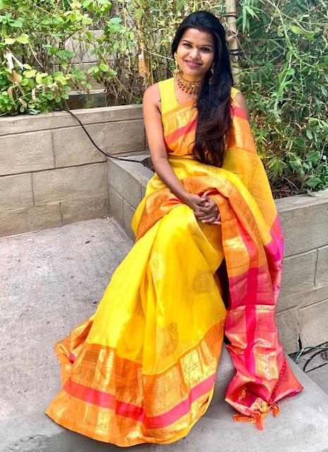 Shashi Vangapally Yellow Silk Saree
