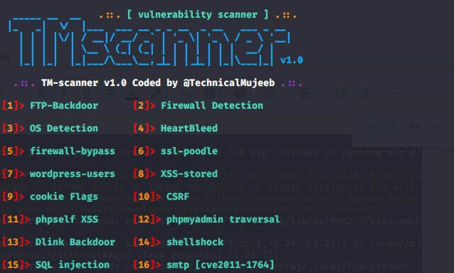 TM-scanner websites vulnerability scanner