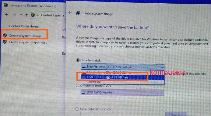 Create a System Image pada windows 10
