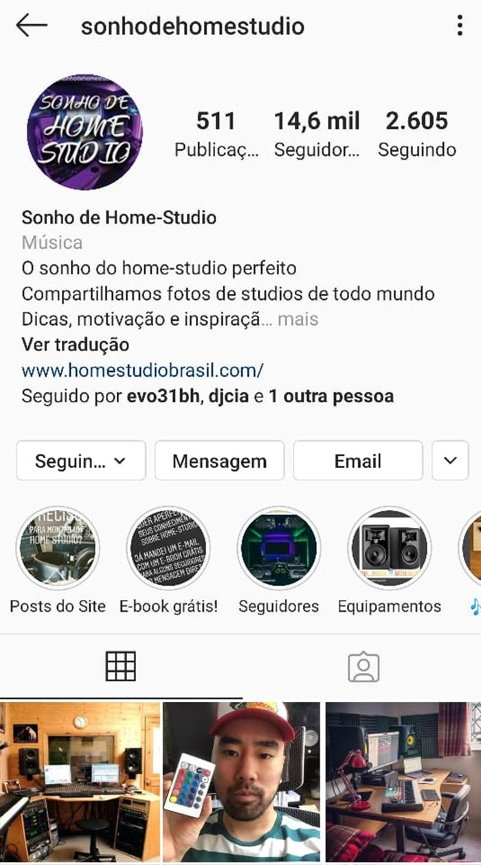 Sonho de Home-Studio: 14,6k de seguidores