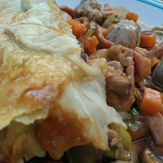 Sausage Pie with a Puff Pastry Leaf