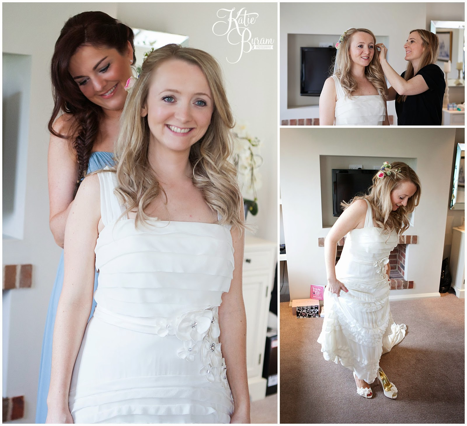 bride getting ready, priory cottages wedding, priory cottages, priory cottages wetherby, yorkshire wedding photographer, wedding venue yorkshire, jenny packham, katie byram photography, paperwhite flowers, spring wedding, rustic wedding, marquee wedding, cottage wedding, countryside wedding