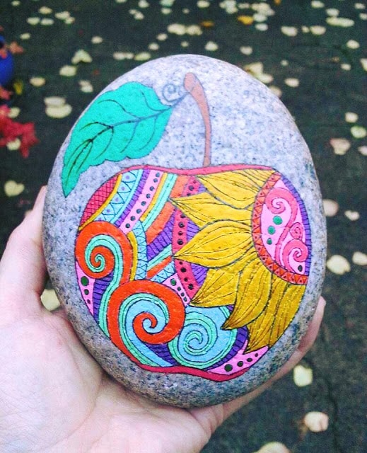 zentangle apple rock painting idea