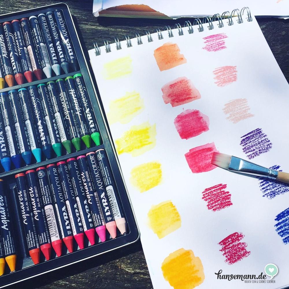 Bei der ersten Farbkarte habe ich mit den Stiften direkt auf ein Aquarellpapier gemalt und Farbe dort mit einem nassen Pinsel verstrichen
