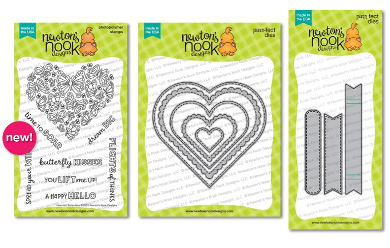 Heartfelt Butterflies Stamp Set and Heart Frames & Banner Trio Die Sets by Newton's Nook Designs #newtonsnook