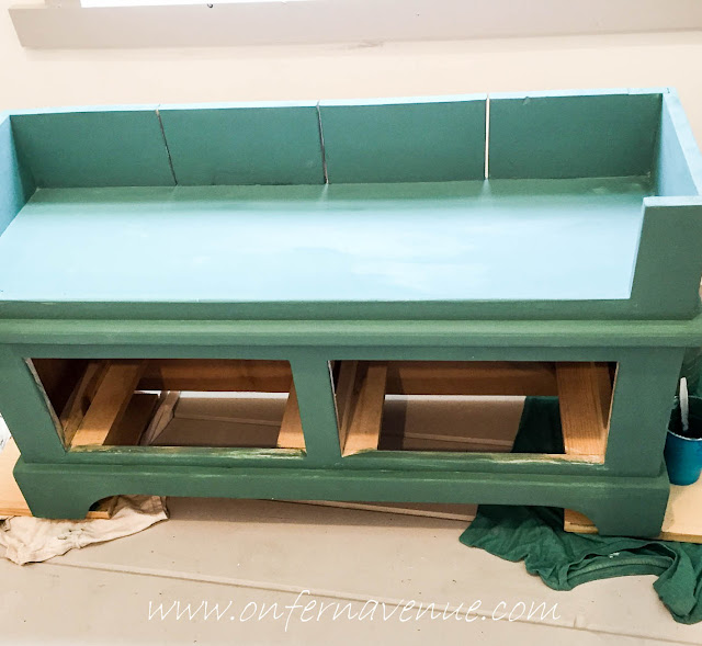 first-coat-on-bench-of-milk-paint