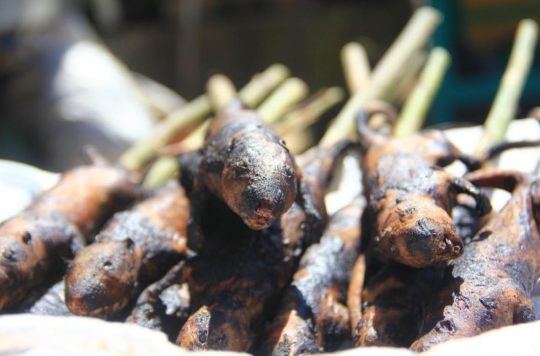 tikus sawah bakar yang dijual di pasar tomohon