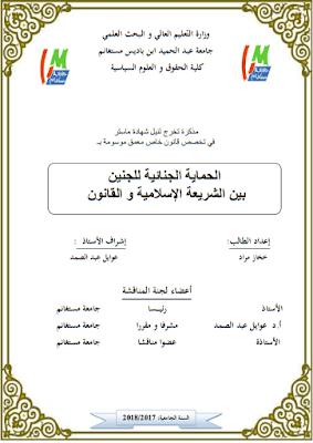 مذكرة ماستر: الحماية الجنائية للجنين بين الشريعة الإسلامية والقانون PDF
