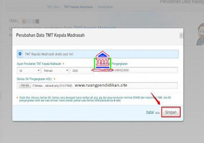 perubahan data TMT pertama Kepala Madrasah