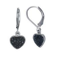 1/3 cttw Heart Shape Black Diamond Dangle Earrings .925 Sterling Silver 1 Inch