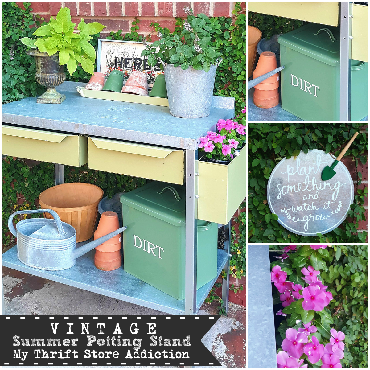 Welcome Home Sunday: vintage potting stand from My Thrift Store Addiction