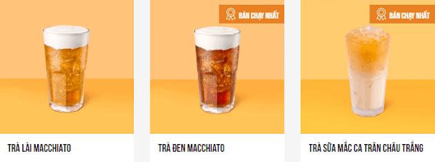 Menu trà sữa Macchiato ngon mê li.