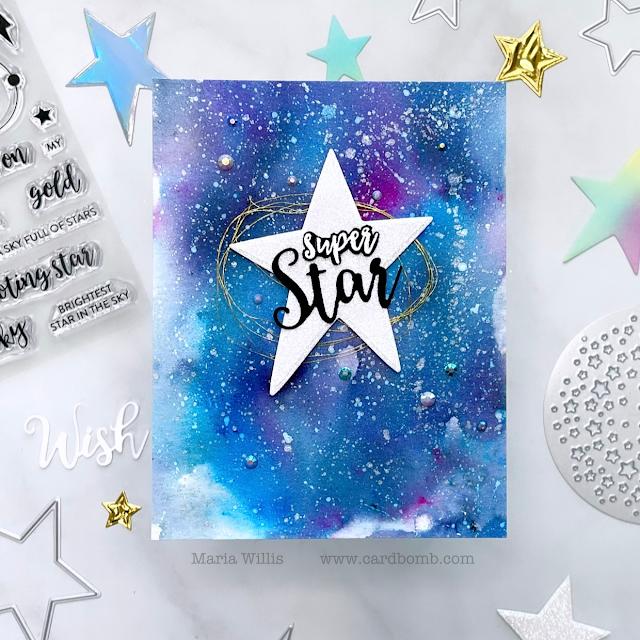 video tutorial,cards,ink,cardmaking,stamping,Tonic Studios USA,Cardbomb,maria willis,paper,Tonic Studios,Shoot for the Stars,stamps,Shoot for the Moon,Tonic Studios Stamp Club,
