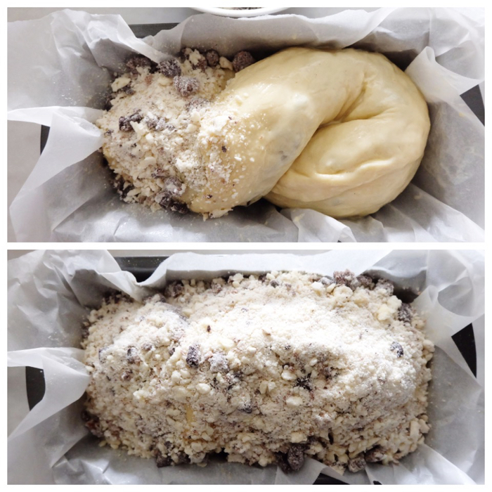 sprinkling crumb topping on dough in loaf pan