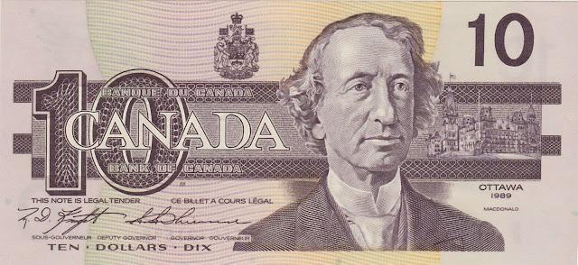 Canadian Banknotes 10 Dollars banknote 1989 Sir John Alexander Macdonald, first Prime Minister of Canada